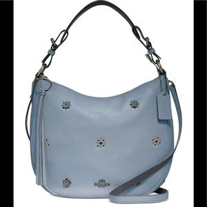 Coach Sutton Leather Hobo Scattered Rivets Mist